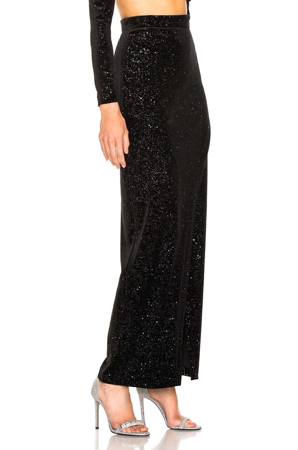 Image 2 of BALMAIN Star Speckled Midi Skirt in Black & Silver