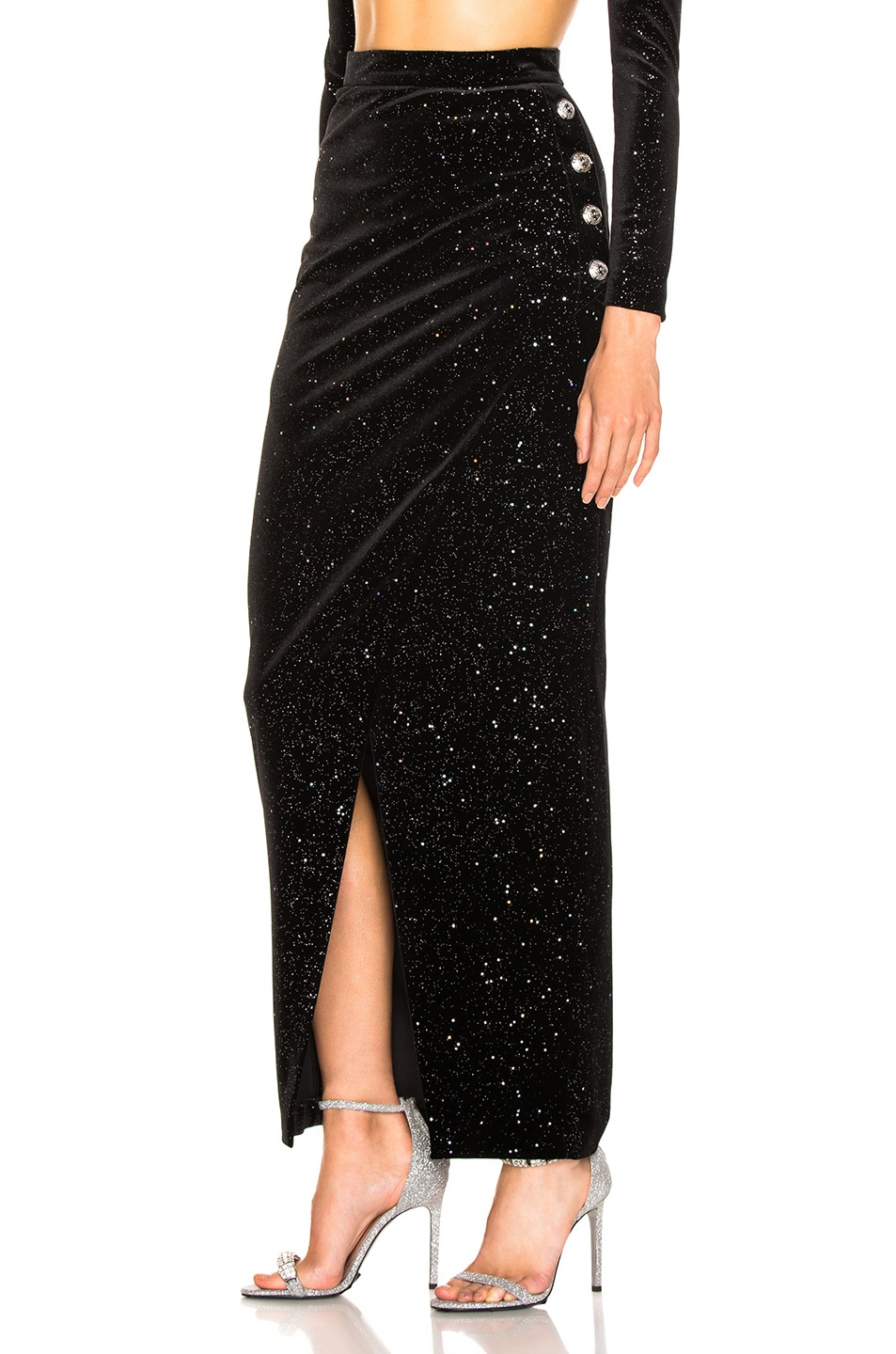 Image 3 of BALMAIN Star Speckled Midi Skirt in Black & Silver