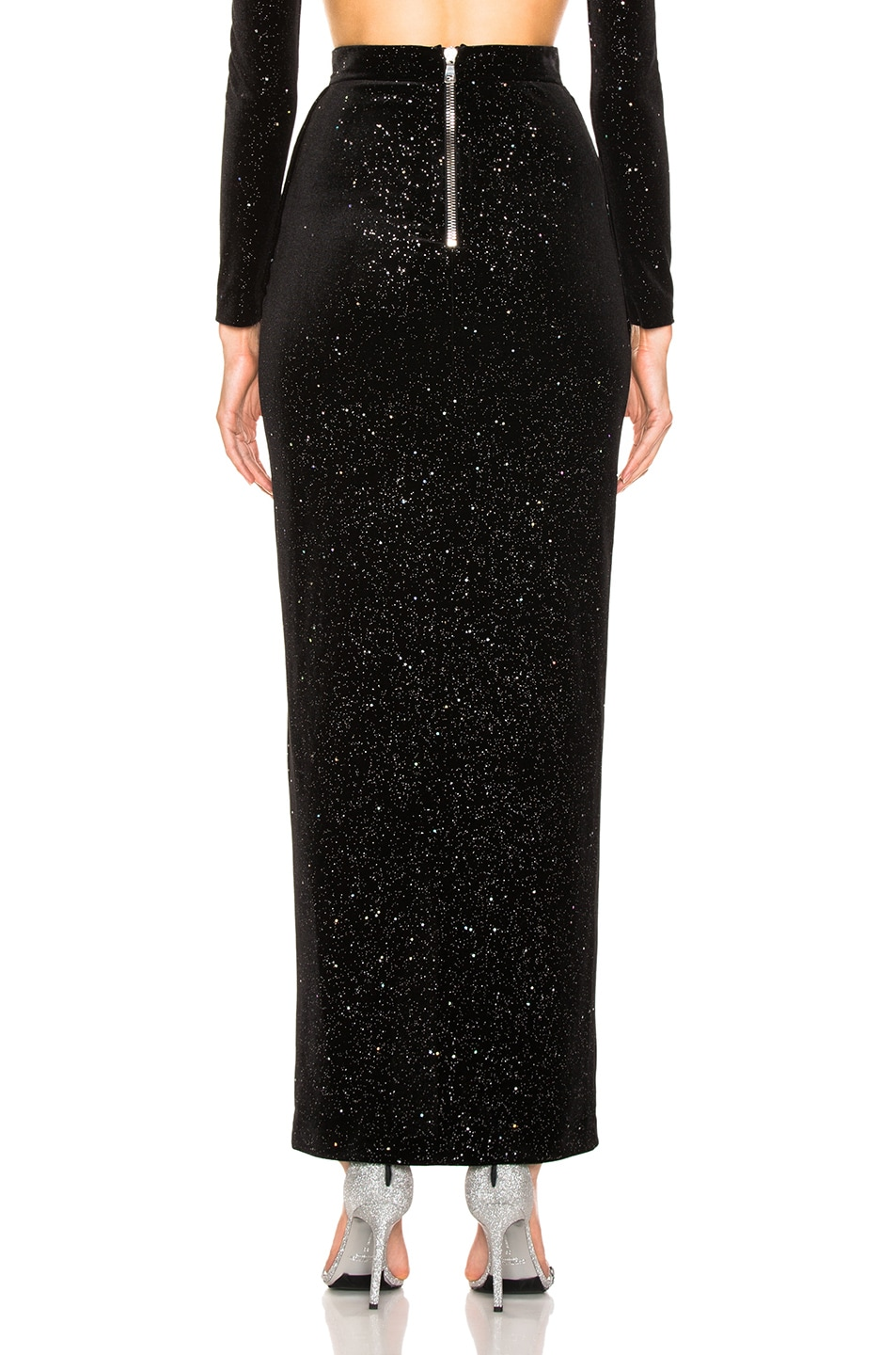 Image 4 of BALMAIN Star Speckled Midi Skirt in Black & Silver