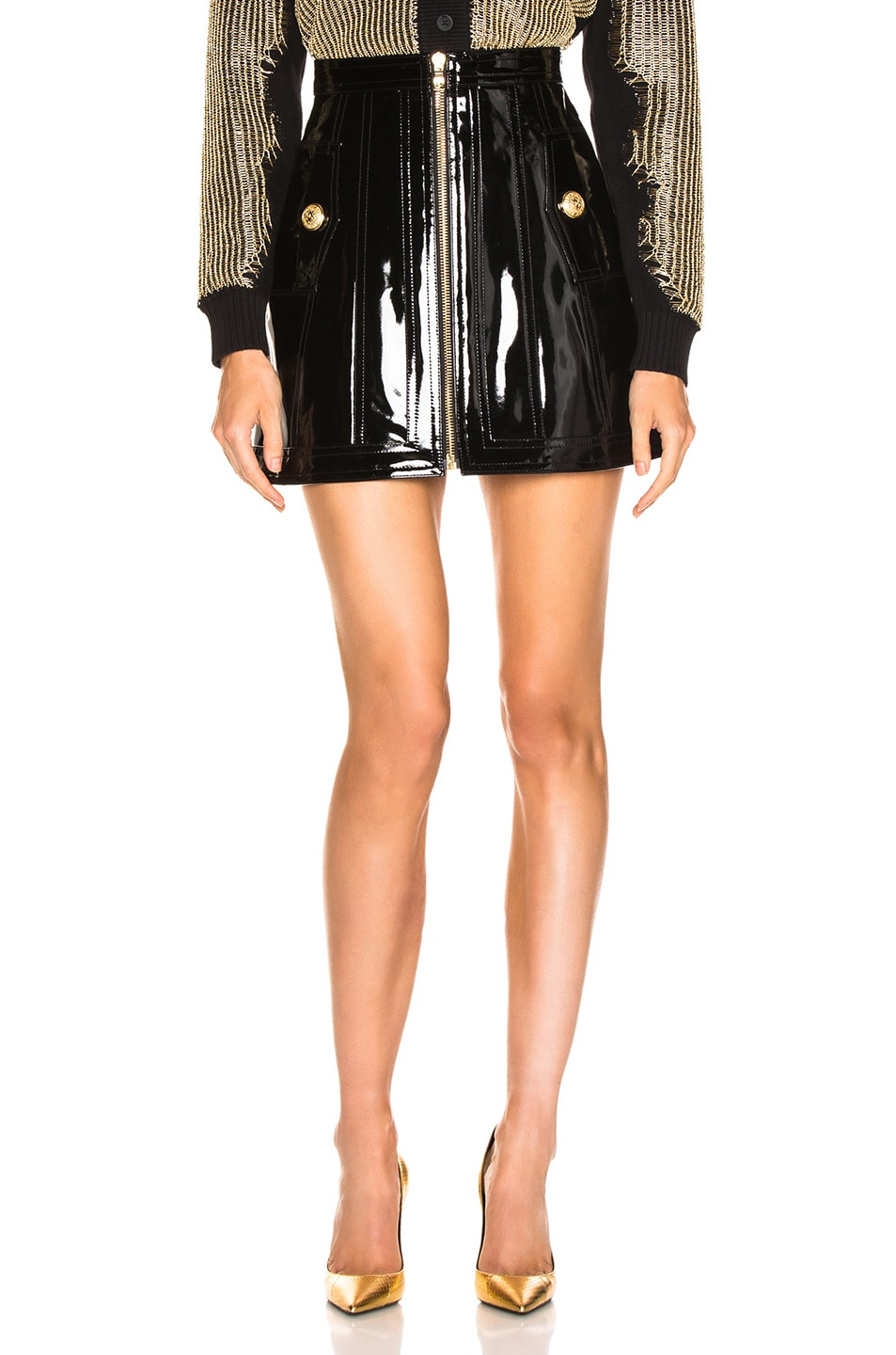 Image 1 of BALMAIN Zip Front Patent Leather Skirt in Black