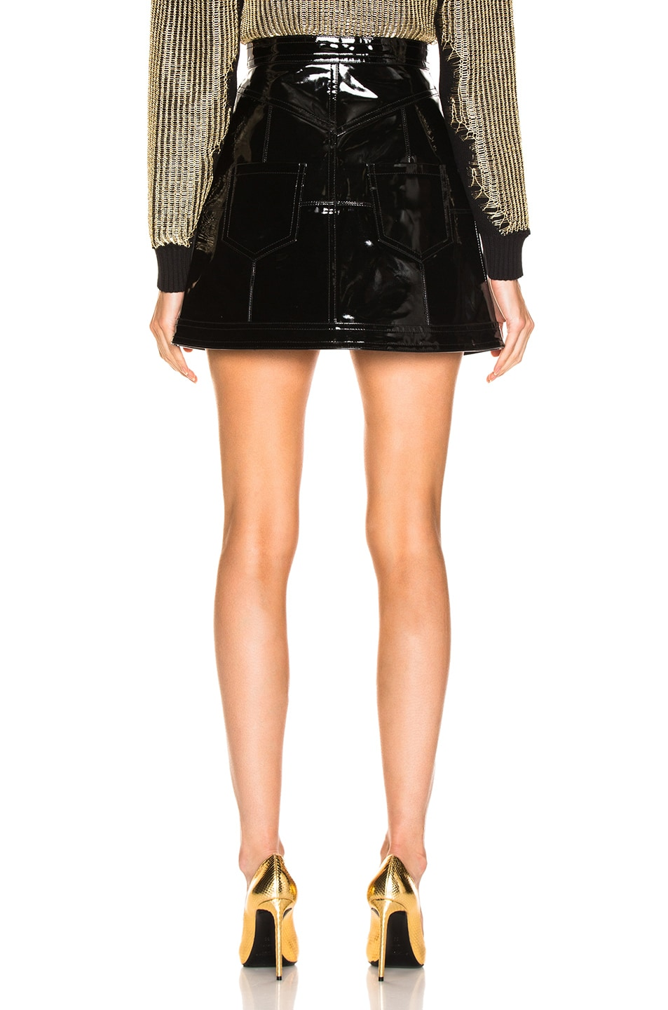 Image 3 of BALMAIN Zip Front Patent Leather Skirt in Black