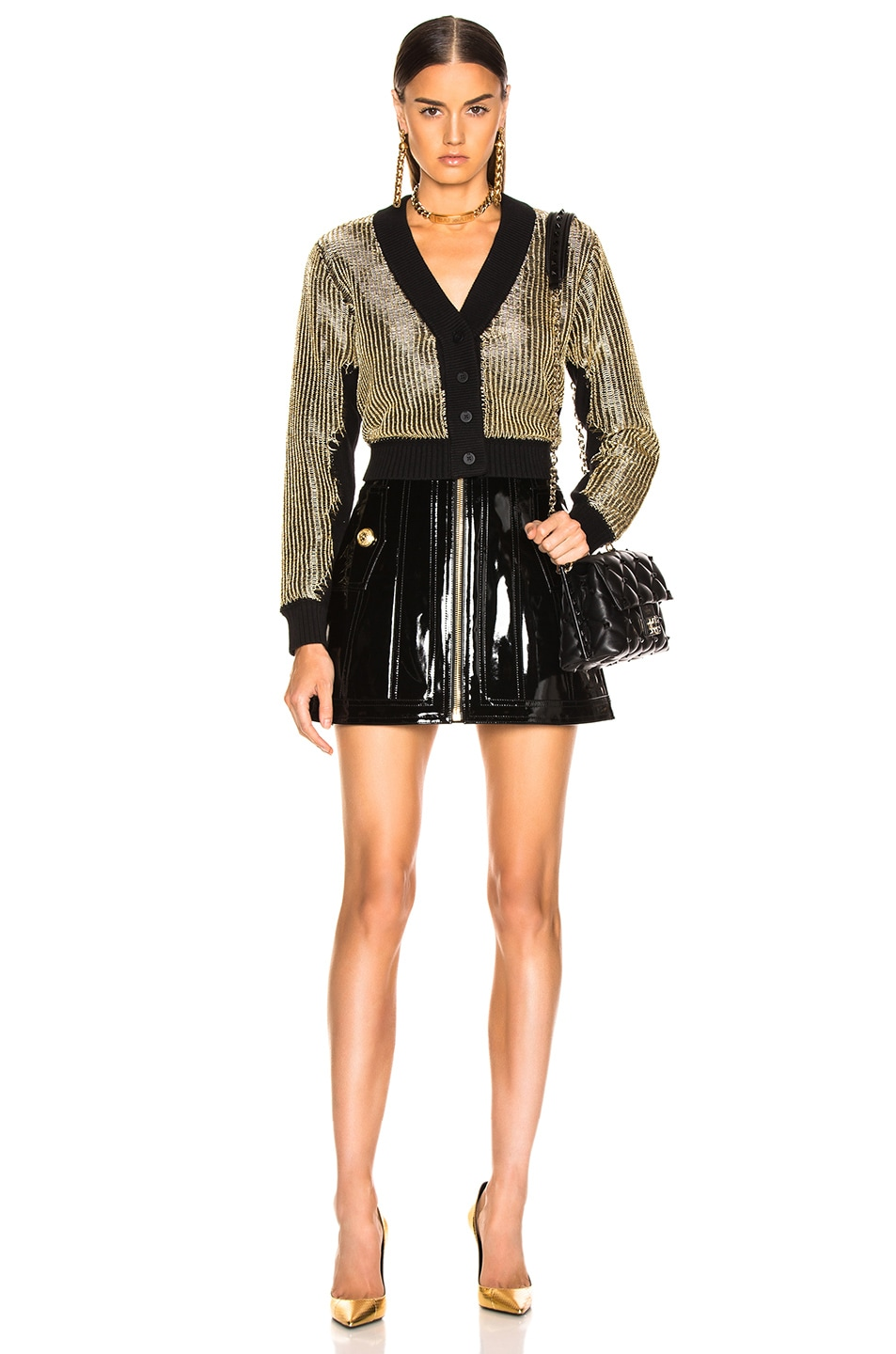 Image 4 of BALMAIN Zip Front Patent Leather Skirt in Black