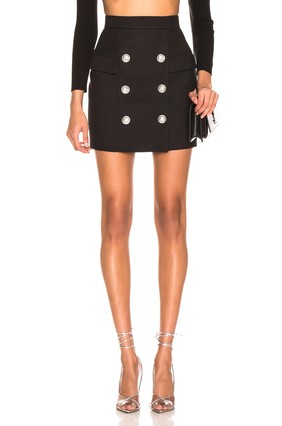 Image 1 of BALMAIN High Waist Skirt in Noir