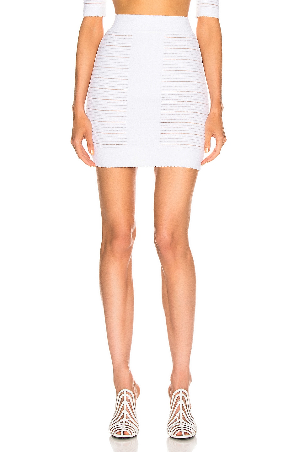 Image 1 of BALMAIN High Waisted Medical Stripe Skirt in Blanc Optique