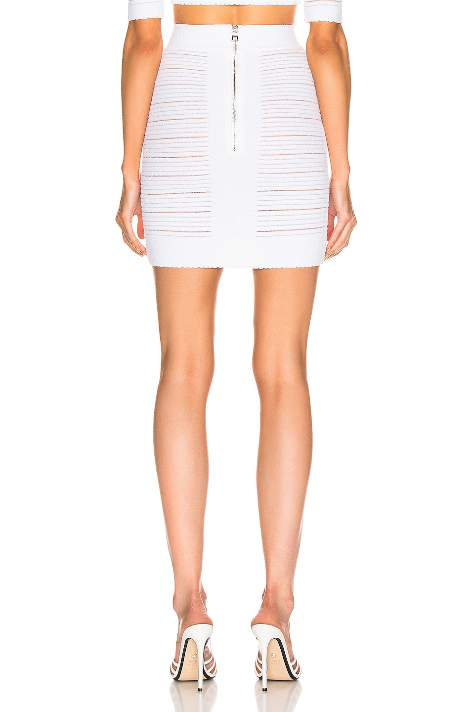 Image 3 of BALMAIN High Waisted Medical Stripe Skirt in Blanc Optique