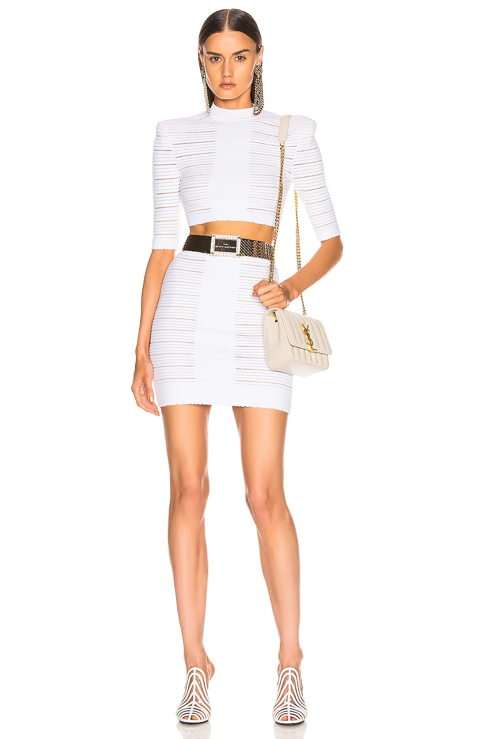 Image 4 of BALMAIN High Waisted Medical Stripe Skirt in Blanc Optique