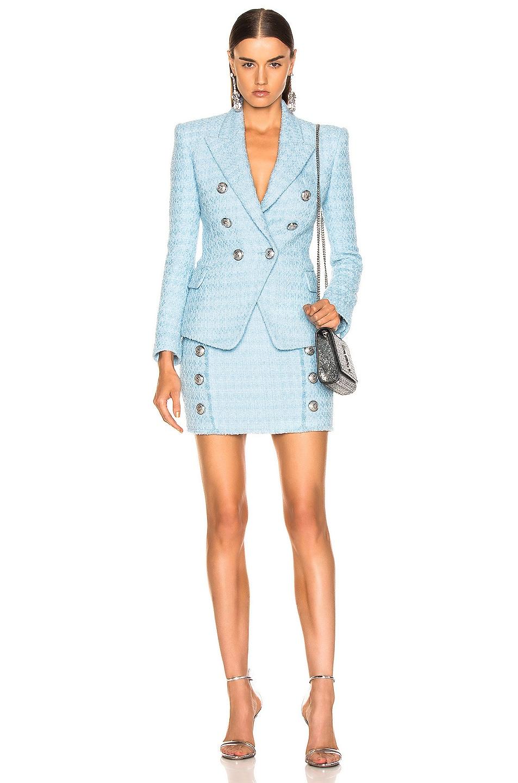 Image 4 of BALMAIN High Waisted Skirt in Blue