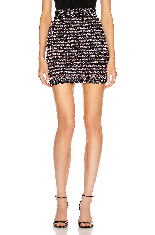 Image 1 of BALMAIN Short Glitter Stripe Skirt in Black Multi