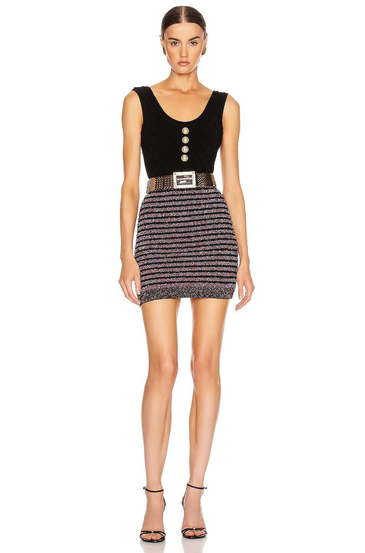 Image 4 of BALMAIN Short Glitter Stripe Skirt in Black Multi