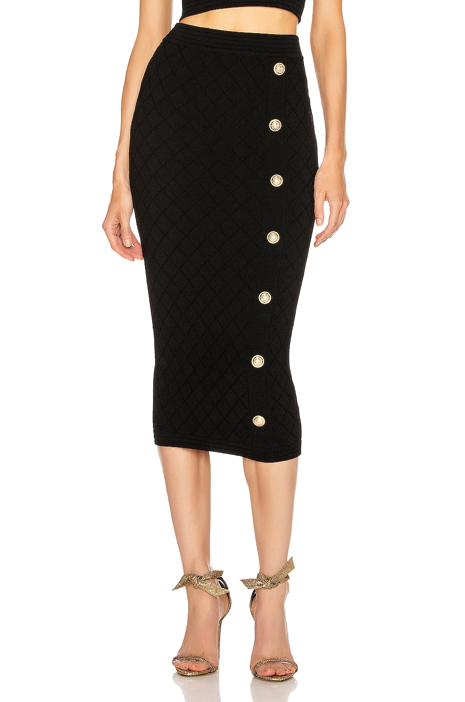 Image 1 of BALMAIN Diamond Midi Skirt in Black