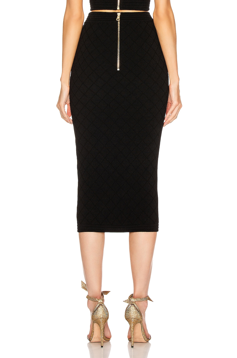 Image 4 of BALMAIN Diamond Midi Skirt in Black
