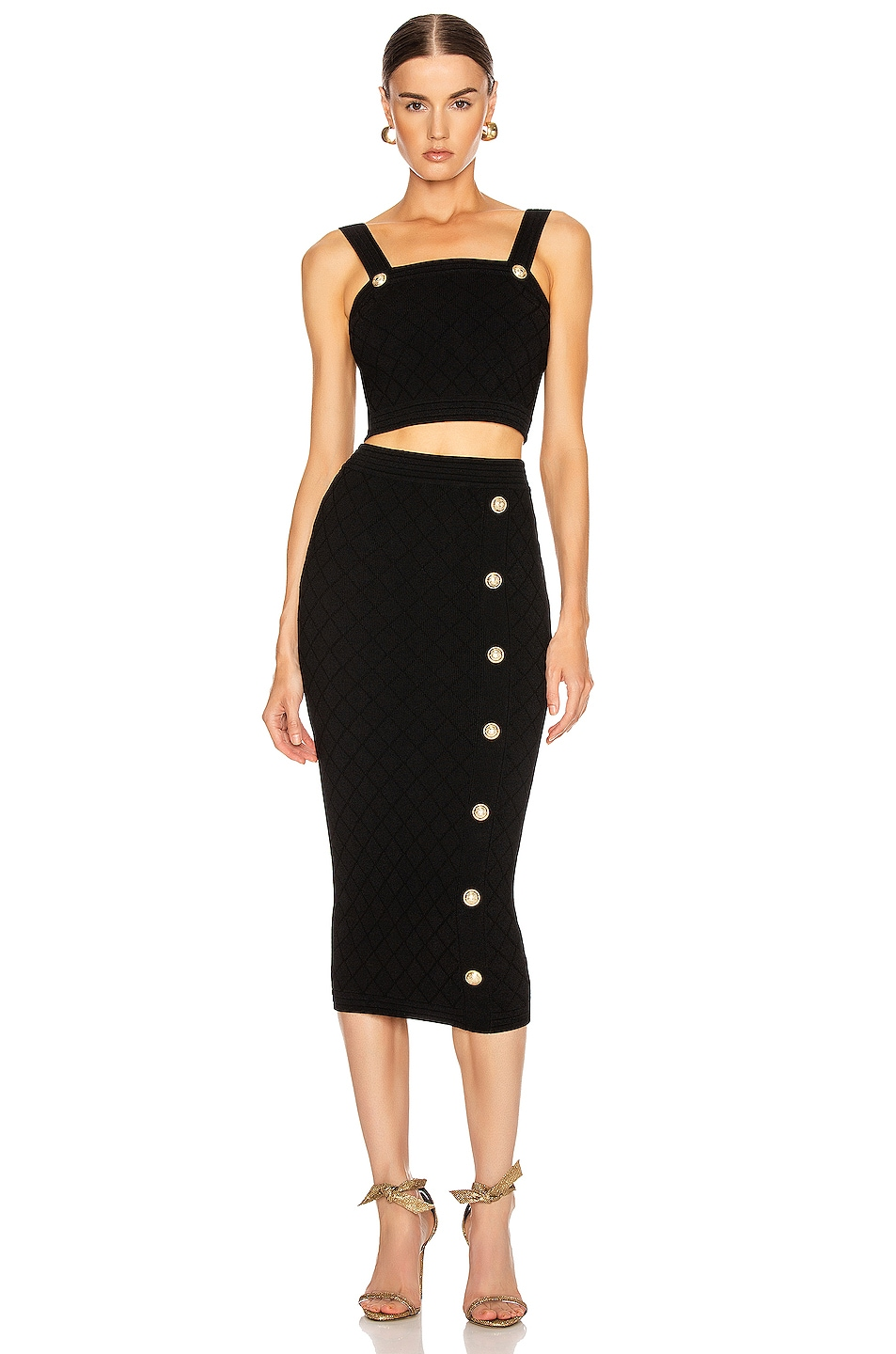 Image 5 of BALMAIN Diamond Midi Skirt in Black