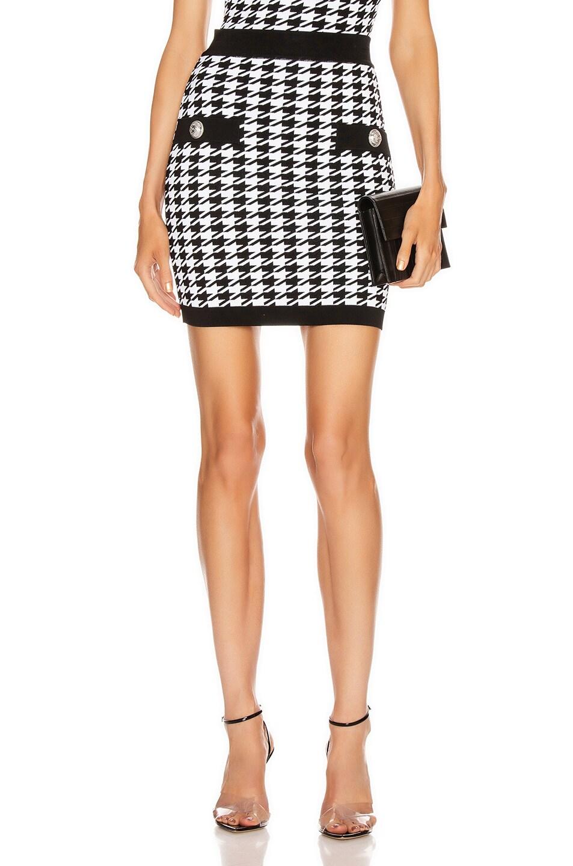 Image 1 of BALMAIN Houndstooth Mini Skirt in Black & White