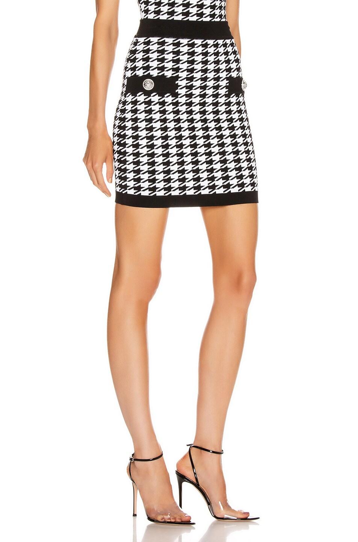 Image 2 of BALMAIN Houndstooth Mini Skirt in Black & White