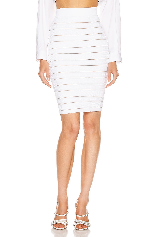 Image 1 of BALMAIN High Waist Logo Stripe Skirt in White