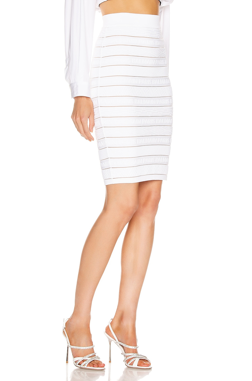 Image 2 of BALMAIN High Waist Logo Stripe Skirt in White