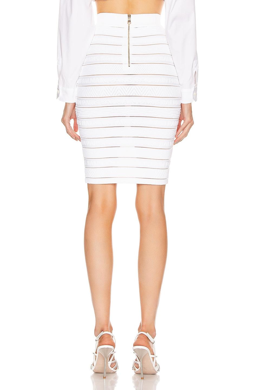 Image 3 of BALMAIN High Waist Logo Stripe Skirt in White