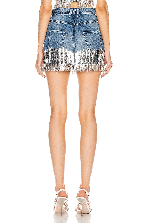 Image 3 of BALMAIN Embroidered Fringe Denim Skirt in Blue & Silver