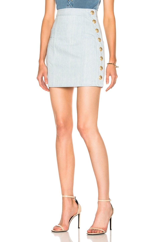 87dd4c972c Image 1 of BALMAIN Denim Mini Skirt in Blue Jean