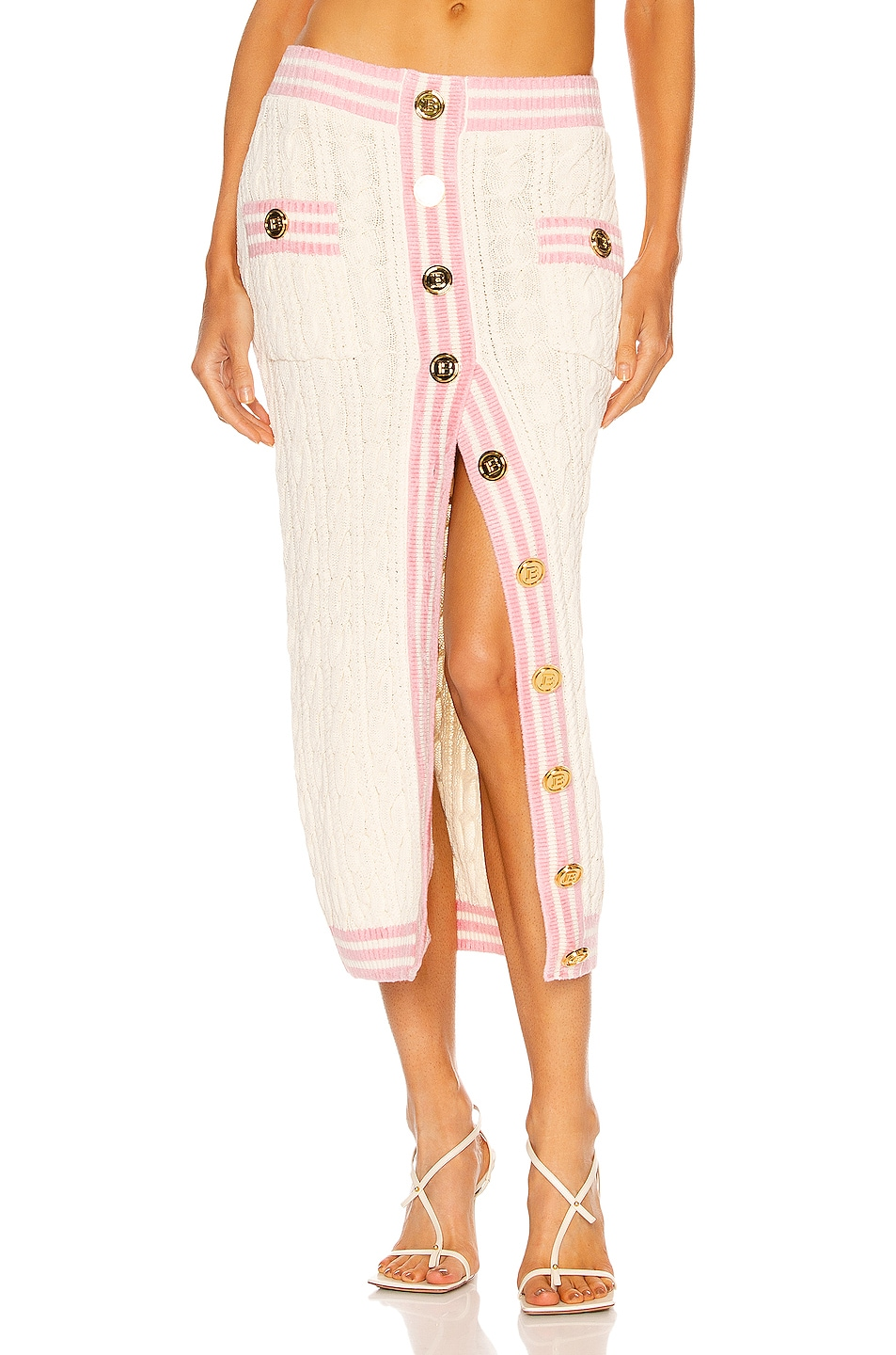 Image 1 of BALMAIN Buttoned Cable Knit Midi Skirt in Ecru & Rose