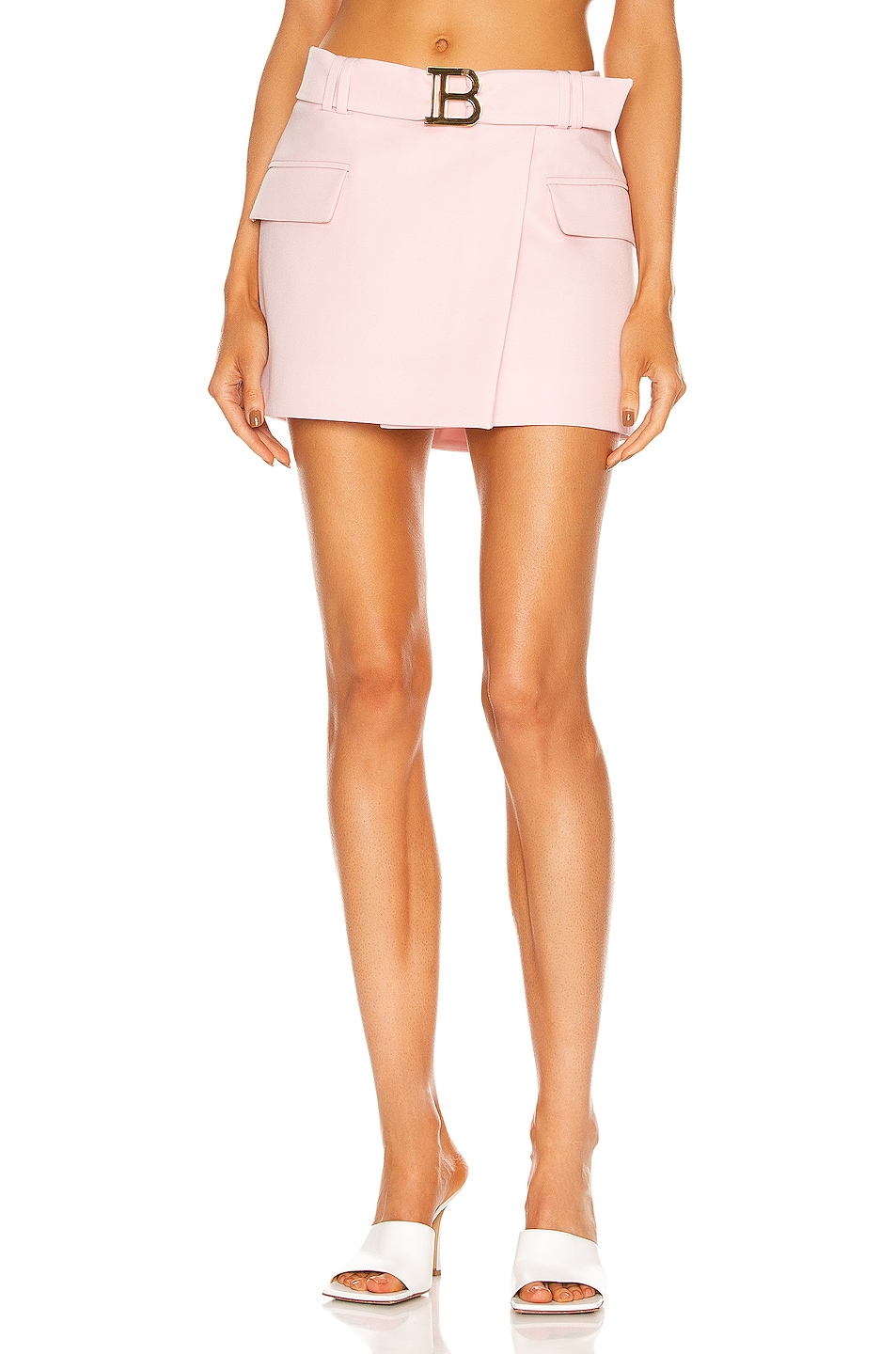 Image 1 of BALMAIN Low Rise Belted Mini Skirt in Pale Rose