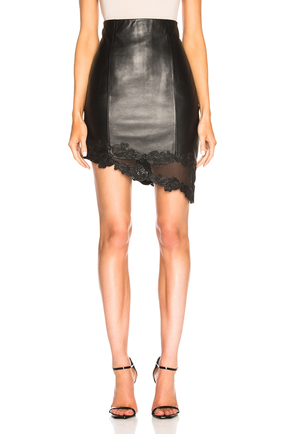 Image 1 of BALMAIN Leather Mini Skirt in Black