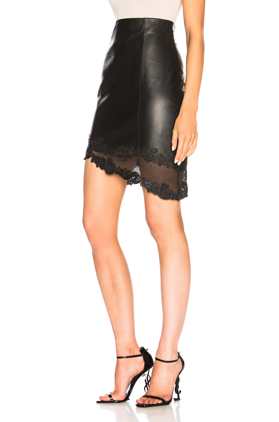 Image 3 of BALMAIN Leather Mini Skirt in Black