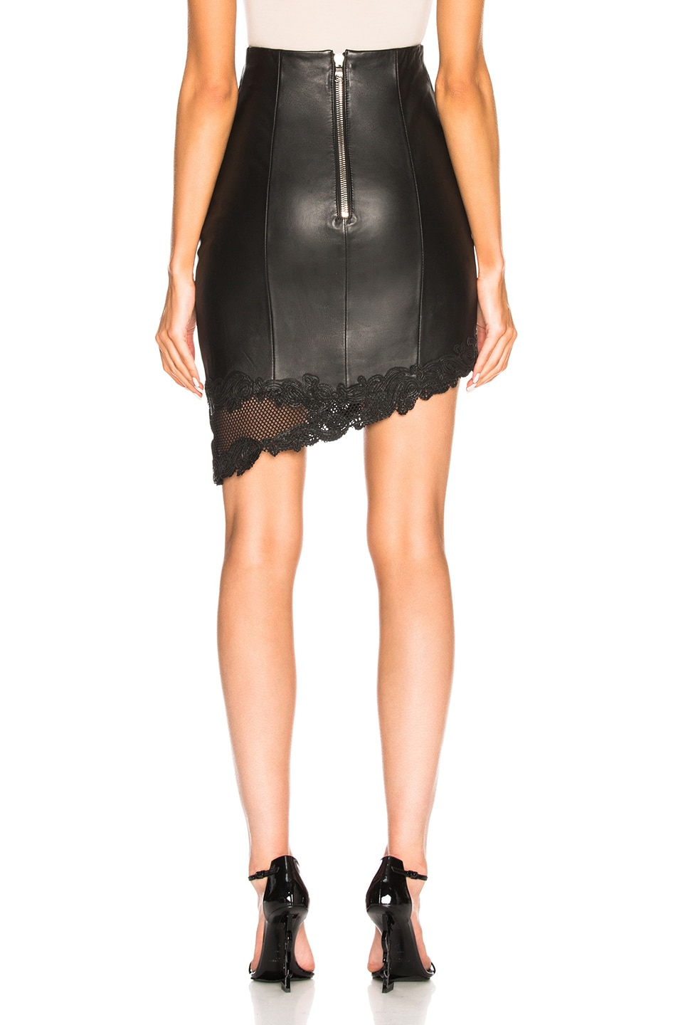 Image 4 of BALMAIN Leather Mini Skirt in Black