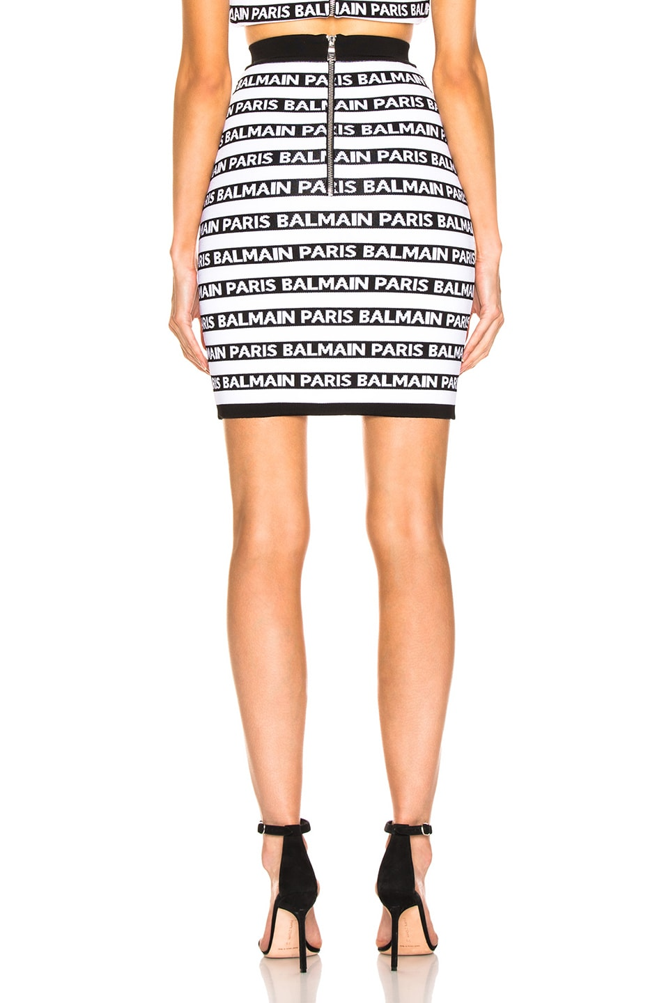 Image 3 of BALMAIN Logo Print Striped Pencil Skirt in Black & White
