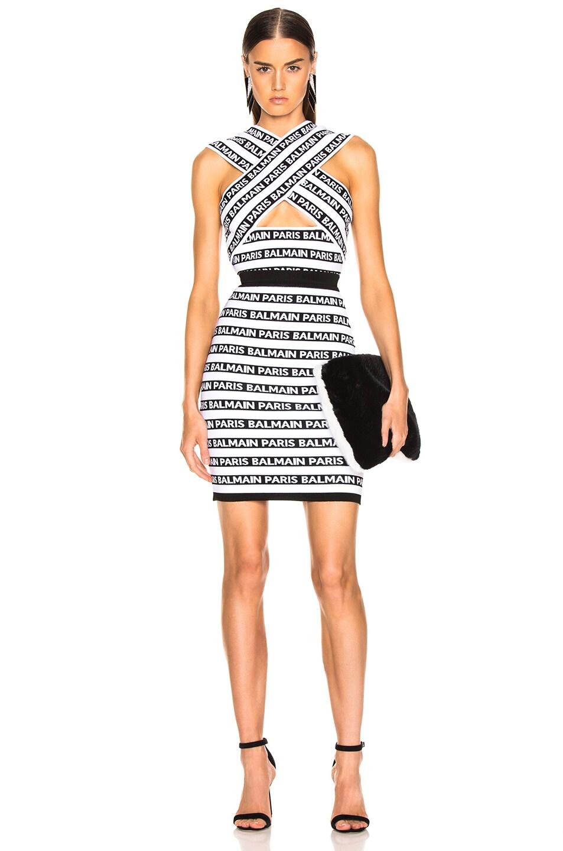 Image 4 of BALMAIN Logo Print Striped Pencil Skirt in Black & White