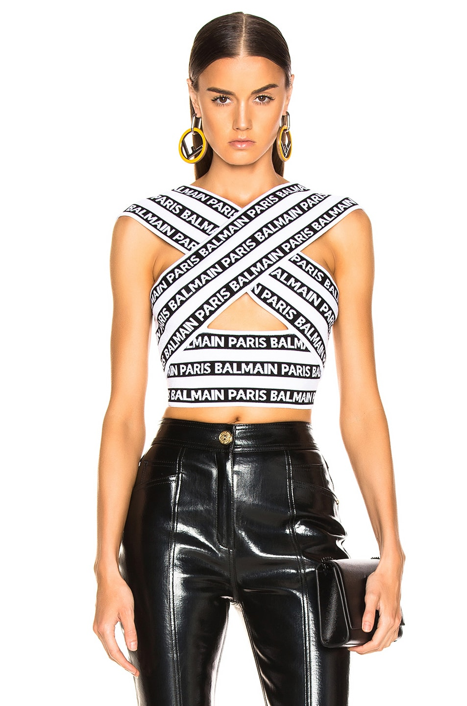 080d0a62 Image 1 of BALMAIN Logo Print Crossover Banded Top in Black & White