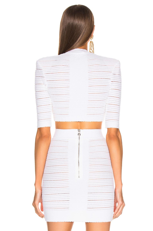 Image 3 of BALMAIN Medical Stripe Crop Top in Blanc Optique