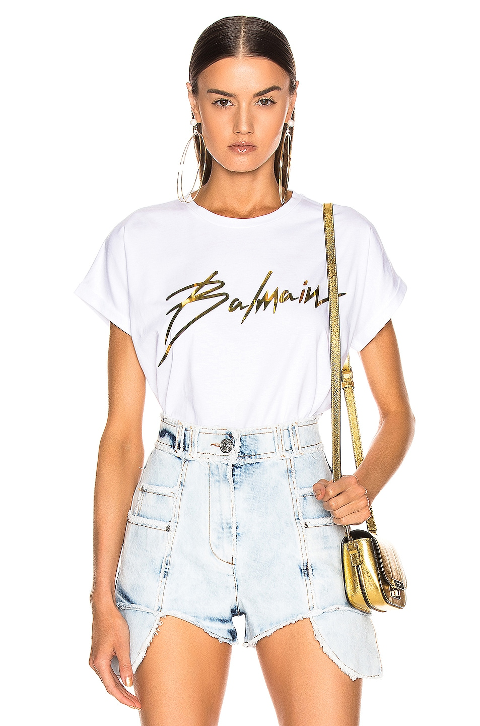 Image 1 of BALMAIN Logo Crew Neck T Shirt in White & Gold