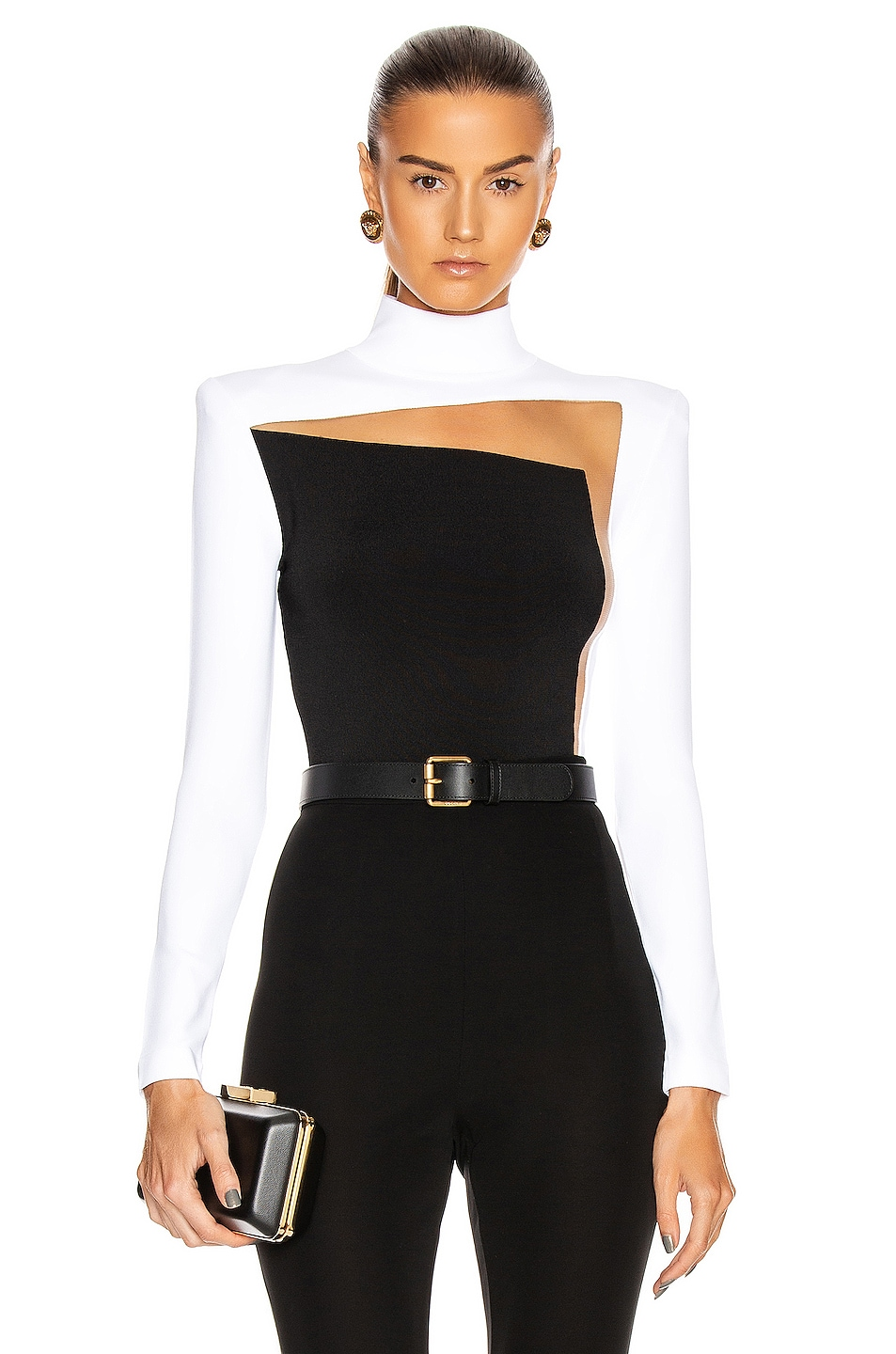 Image 1 of BALMAIN Tulle Knit Bodysuit in White & Black