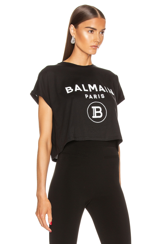 Image 2 of BALMAIN Short Sleeve Logo Cropped T Shirt in Black & White