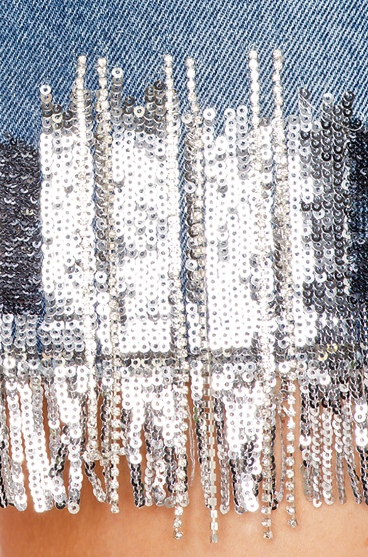 Image 5 of BALMAIN Embroidered Fringe Denim Bra Top in Blue & Silver