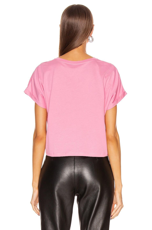 Image 3 of BALMAIN Cropped Short Sleeve Logo Tee in Rose & White