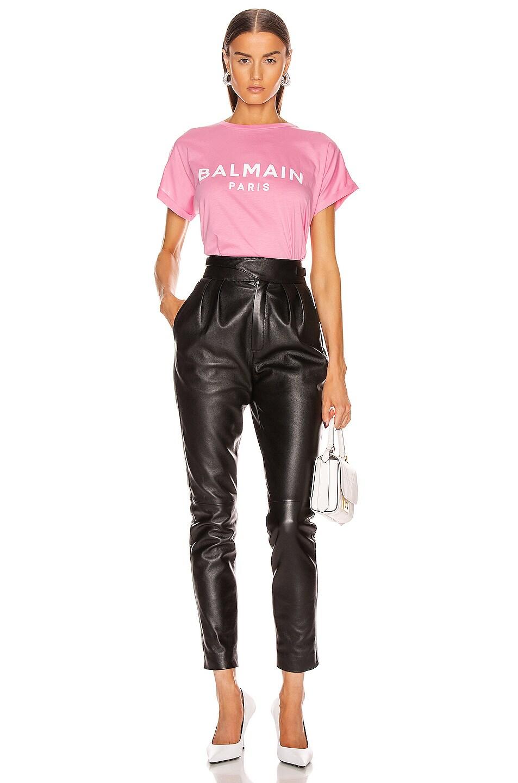 Image 4 of BALMAIN Cropped Short Sleeve Logo Tee in Rose & White
