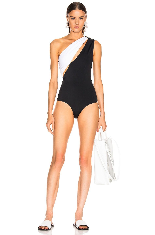 Image 1 of BALMAIN Asymmetric Shoulder Button Swimsuit in Noir & Blanc