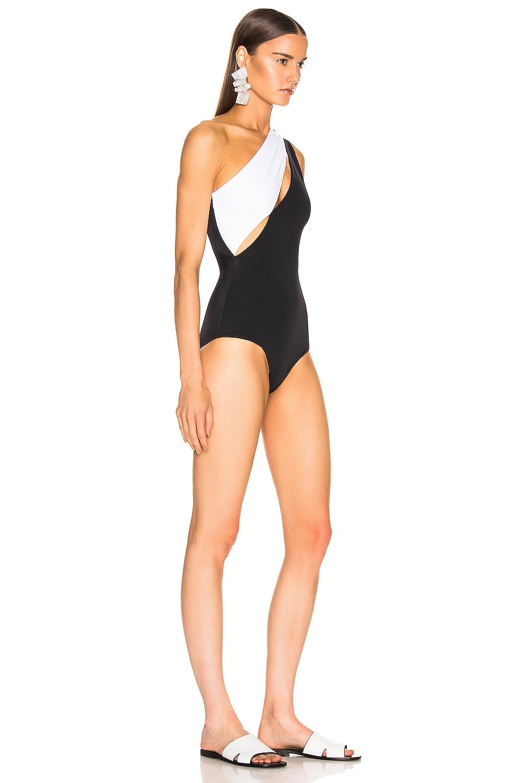 Image 2 of BALMAIN Asymmetric Shoulder Button Swimsuit in Noir & Blanc