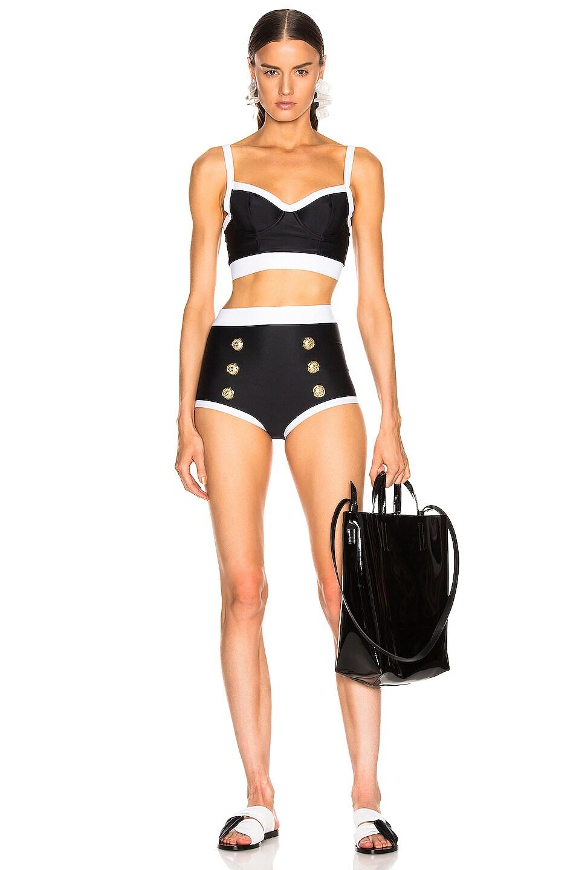 Image 4 of BALMAIN Vintage Style Bikini Top in Noir & Blanc