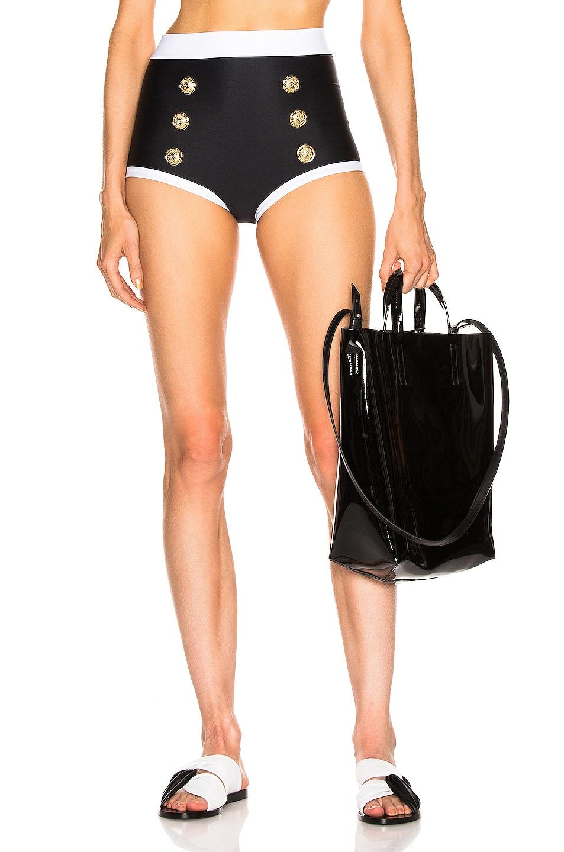 Image 1 of BALMAIN High Waist Bikini Bottom in Noir & Blanc