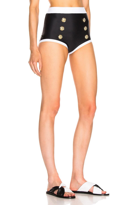 Image 2 of BALMAIN High Waist Bikini Bottom in Noir & Blanc