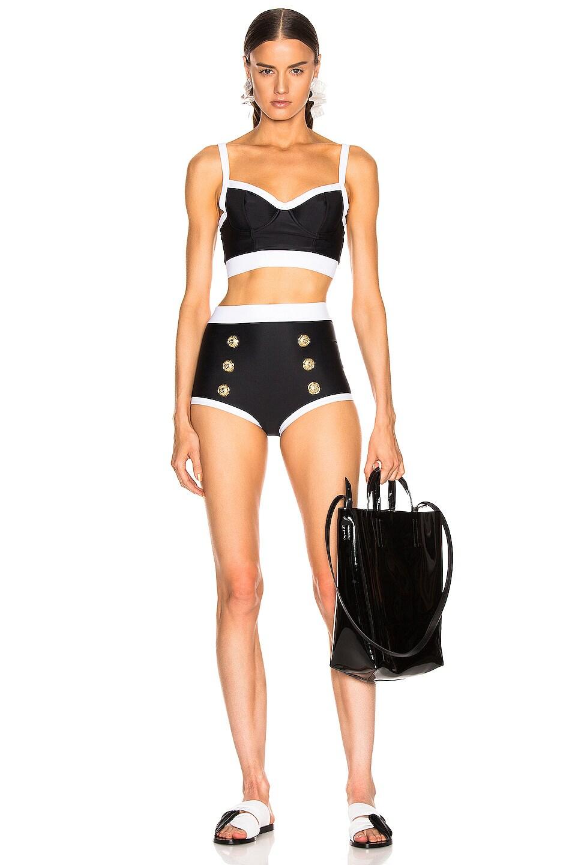 Image 4 of BALMAIN High Waist Bikini Bottom in Noir & Blanc
