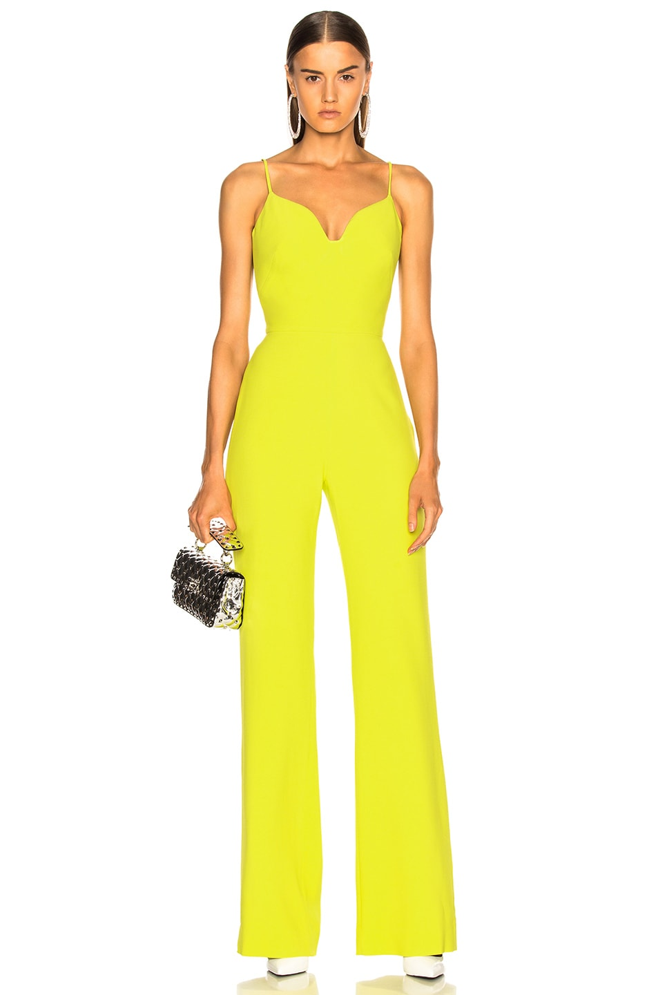 Image 1 of Brandon Maxwell Stretch Crepe Sweetheart Jumpsuit in Lime