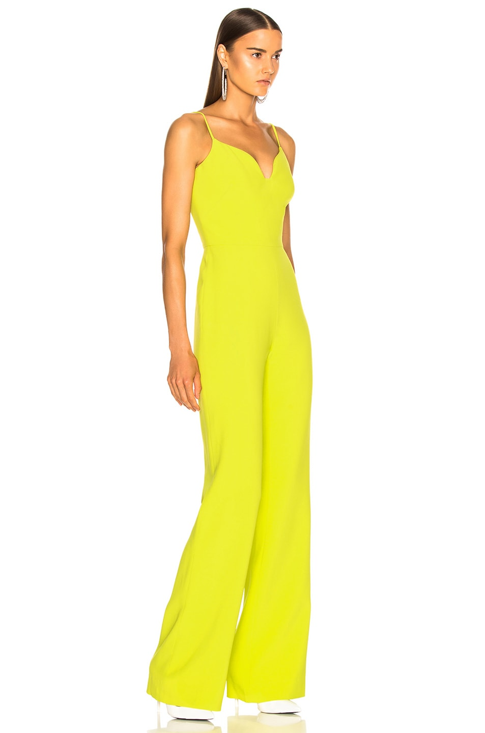Image 2 of Brandon Maxwell Stretch Crepe Sweetheart Jumpsuit in Lime
