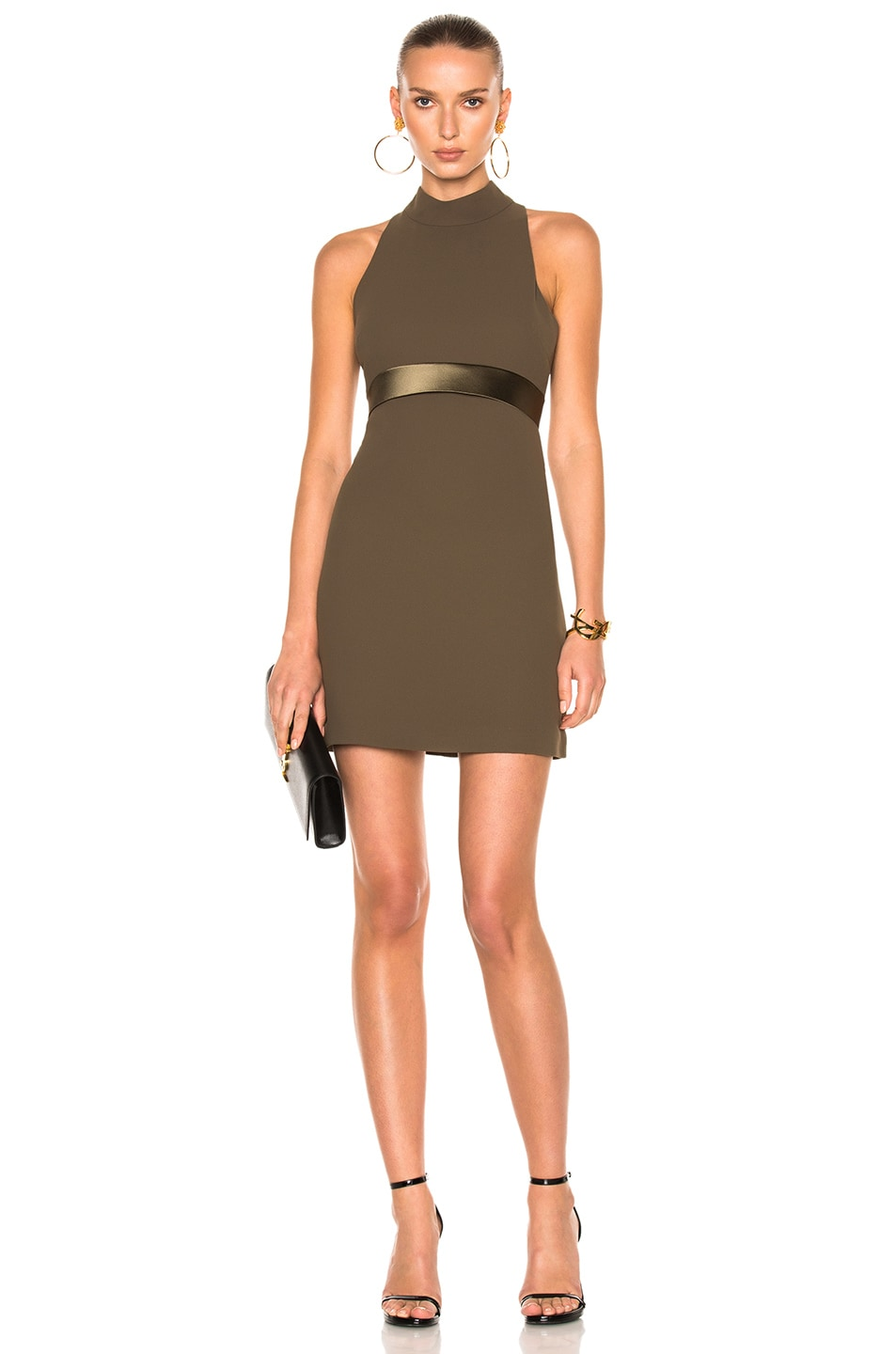 Image 1 of Brandon Maxwell Mod Mini Dress with High Neck in Olive