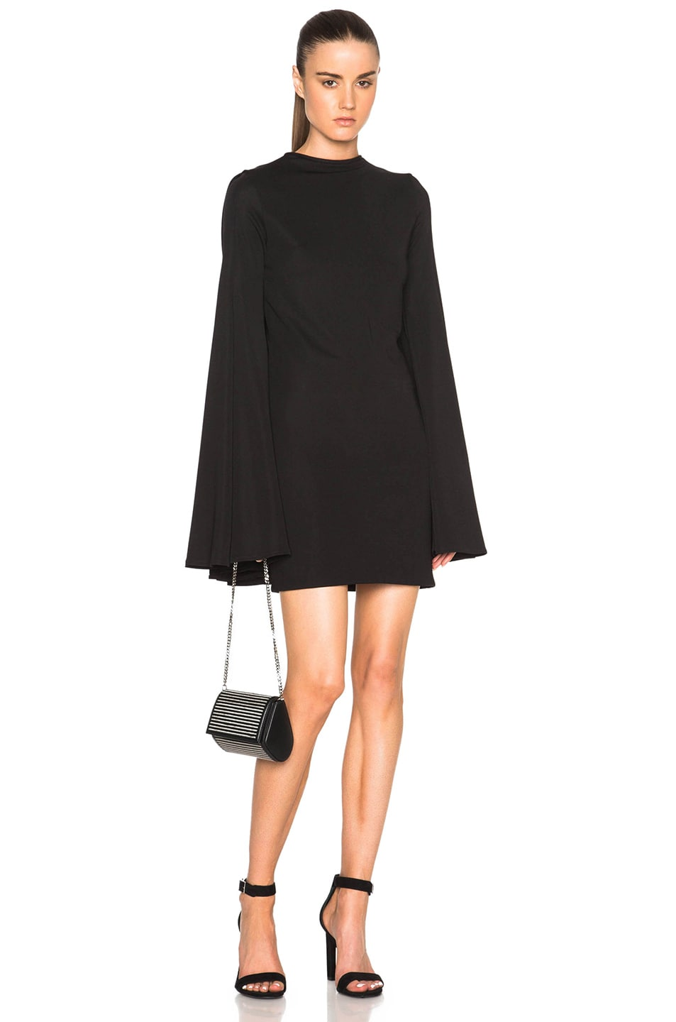 Image 1 of Brandon Maxwell Pleat Back Mini Dress in Black