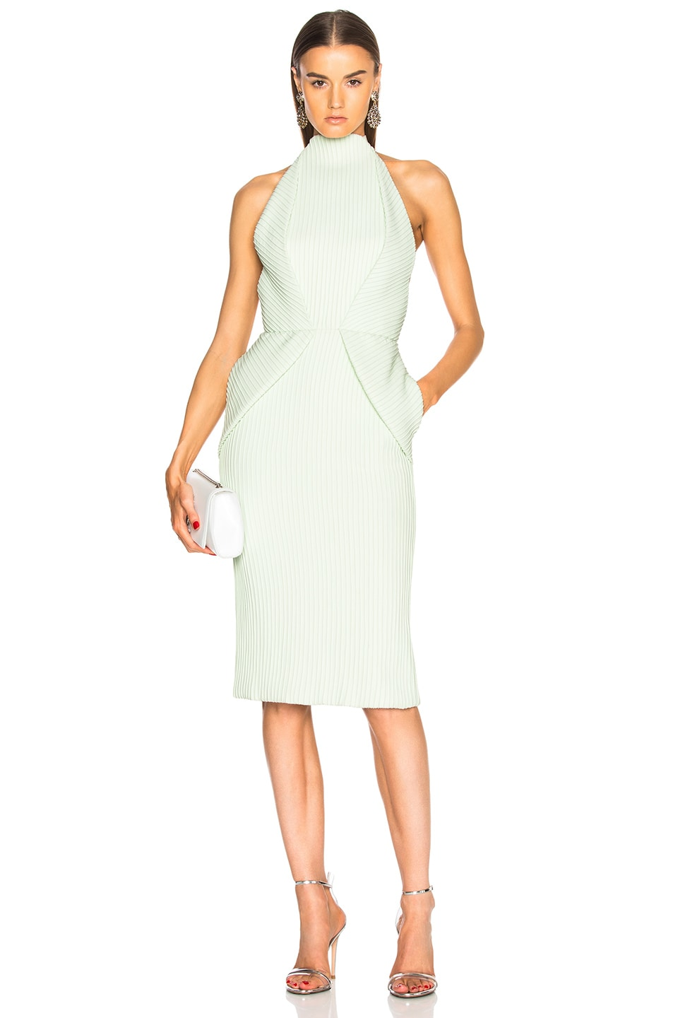 Image 1 of Brandon Maxwell Fold-Over Backless Pintucked Cocktail Dress in Pistachio