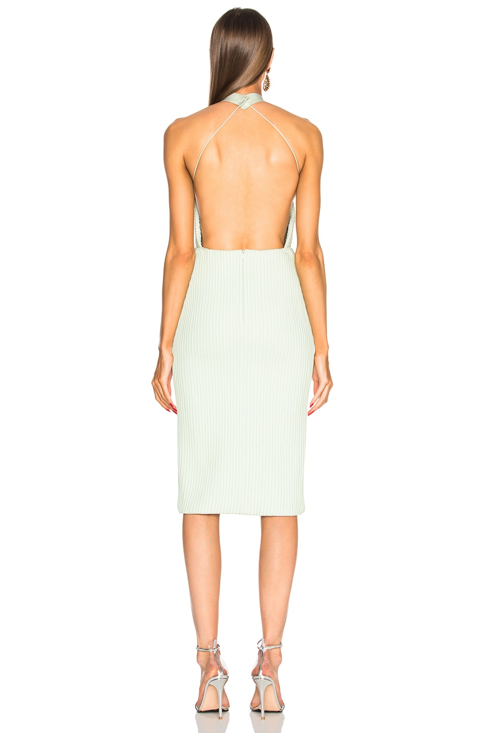 Image 3 of Brandon Maxwell Fold-Over Backless Pintucked Cocktail Dress in Pistachio